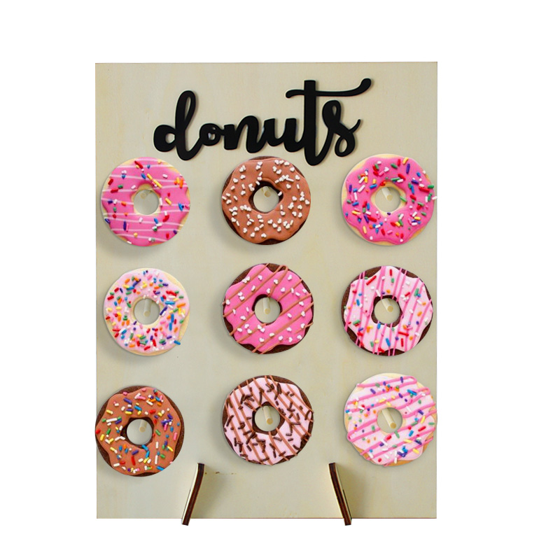 Image 2 - 1set Wooden Donut Wall Stand Wedding Decoration DIY Donut Stand Holder Doughnut Display Wall Baby Shower Birthday Party Decor-in Party DIY Decorations from Home & Garden