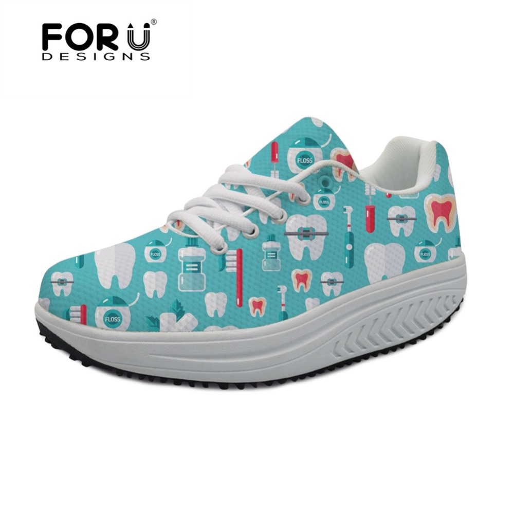 FORUDESIGNS Dentista Zapatos Mujer Cute Dentist Pattern Casual Swing Shoes Women Height Increasing Slimming Shoes Flats Sneakers монитор benq gw2406z glossy black