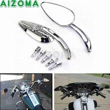 Crânio Chrome Espelhos Retrovisores de Alumínio Da Motocicleta Side Espelhos Retrovisores Pair Universal Para Harley Heritage Softail Dyna Cruiser