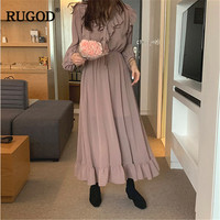 RUGOD 2019 Spring Summer Chiffon Dress Women Fashion Bow V Neck Lantern Sleeve Long Maxi Dress Vestidos Holiday party dresses