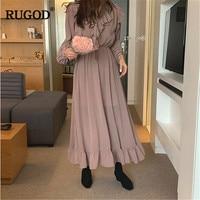 RUGOD Spring 2019 dress for women Fashion Flare long sleeve V neck office ladies long dress vestidos Holiday party dresses femme