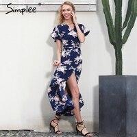 Simplee Boho Floral Print Mermaid Long Dress Summer Beach Vintage Split Women Dress Robe Elegant Sashes