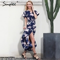 Simplee Boho floral print mermaid long dress Summer beach vintage split women dress robe Elegant sashes bow maxi dress vestidos