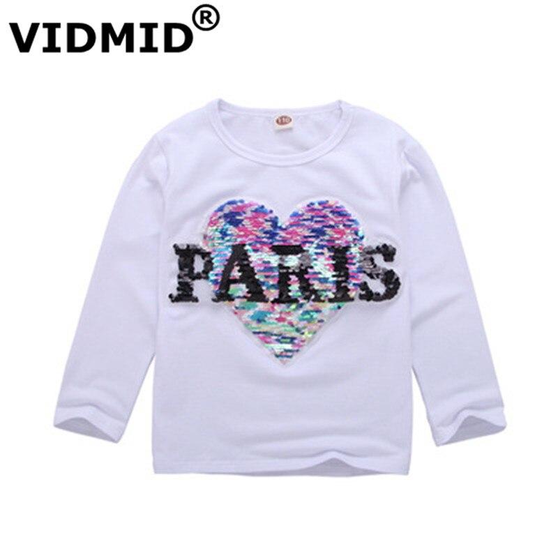 VIDMID Children T-Shirt Tops Sequins Girls Tees Kids Clothes Long-Sleeve Boys Cotton
