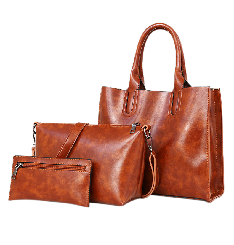 3PCS Pu Leather Casual Female Handbags Large Capacity Composite Bag Big Women Shoulder Bags