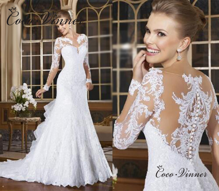Sheer Neck Illusion Vestidos De Novia 2019 Lace Appliques Long Sleeve Mermaid Wedding Dress Brazil Mariage Wedding Gowns W0004