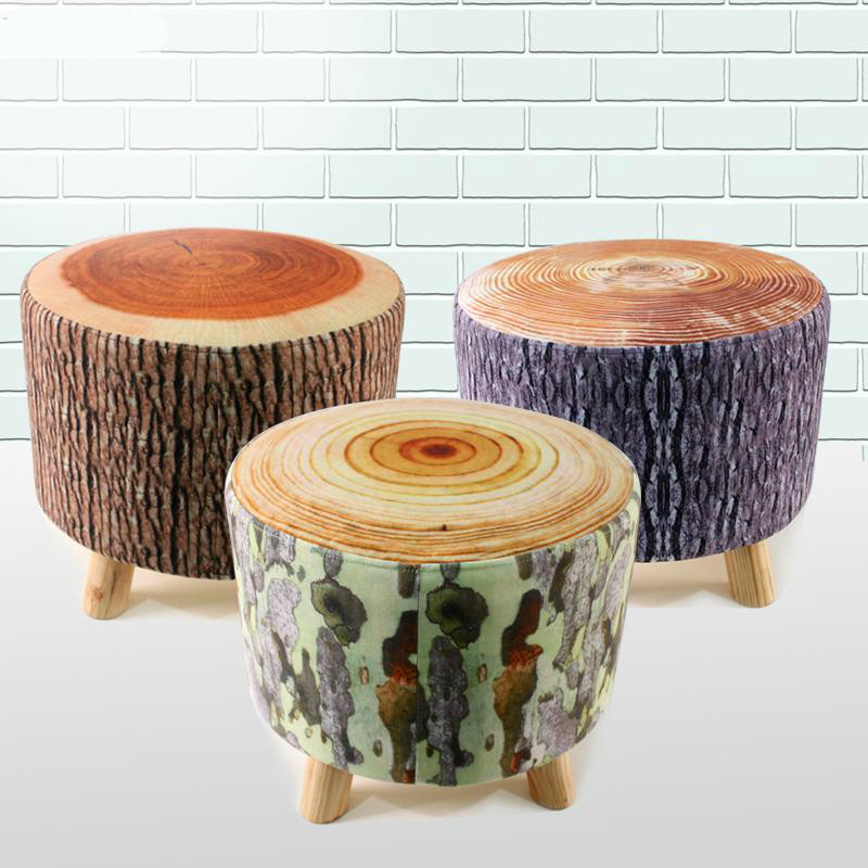 Excellent quality simple modern stools fashion fabric stool home sofa ottomans solid wood fine workmanship chair furniture creative apartment living room coffee table round table simple modern small coffee table corner table