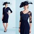 Vestido de Madrinha Elegante Azul Marinho Mãe dos vestidos de Noiva Vestidos com Jaqueta de Chiffon Terno de Cuecas de Renda Na Altura Do Joelho Comprimento Madrinha vestido