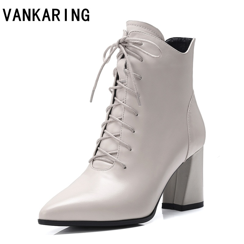 VANKARING classic lace-up women boots genuine leather ankle boots pointed toe women shoes square high heel winter boots women