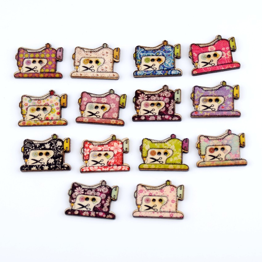Free shipping -2015 New 100pcs Mixed 2 Holes Cartoon Sewing Machine Pattern Wood Sewing Buttons Scrapbooking 20x25mm J1471 image