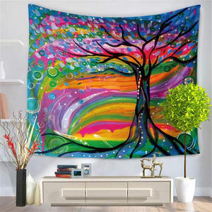 12 Design colorful tree wall tapestry multifunction printing tablecloth bed shee beach towel nice home decoration free ship