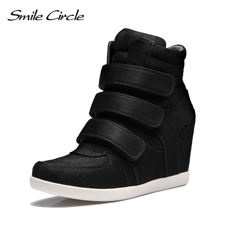 4377dce5aecc Smile Circle 2018 Spring Wedges Sneakers Women Fashion High-top Platform  Shoes High heels Casual Shoes For Women C712B38