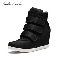 Smile Circle 2018 Spring Wedges Sneakers Women Fashion High top Platform Shoes High heels Casual Shoes For Women C712B38