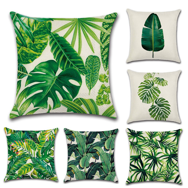 Africa Tropical Plant Printed Cushion Cover Green Leaves Beige Linen Pillow Cases Nordic Home Decorative Monstera Pillowcase