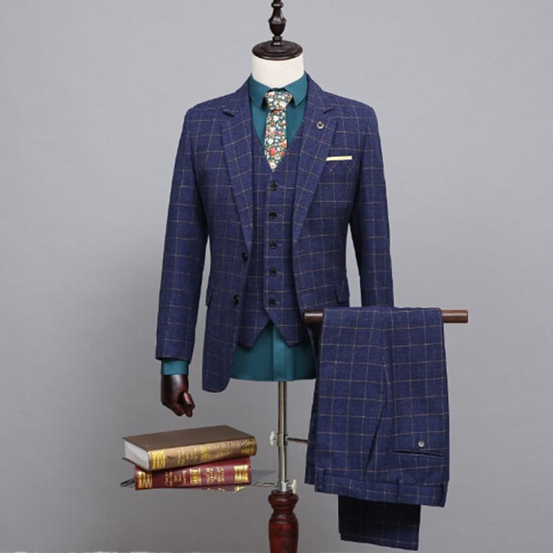 Mens 3 Piece Suits Fashion Groom Suit Two Grain Of Buckle Men's Suits Men Wedding Dress Custom Picture Color (coat + Pants + Ves