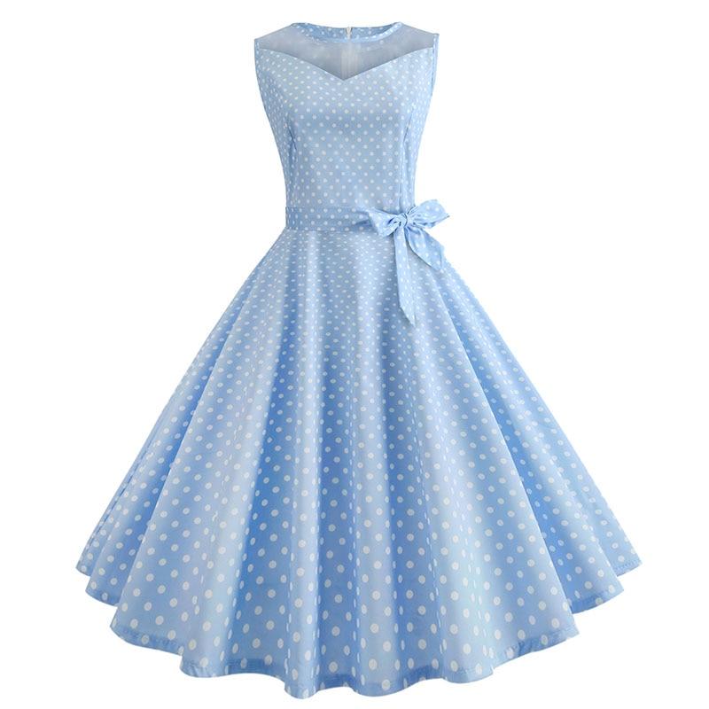 Retro letné párty šaty 1950 s bodkami Swing style (8 variánt) 29