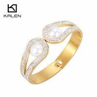 Gorgeous Gold Plated Oval Rhinestone Indian Bangle Fake Pearl Jewelry