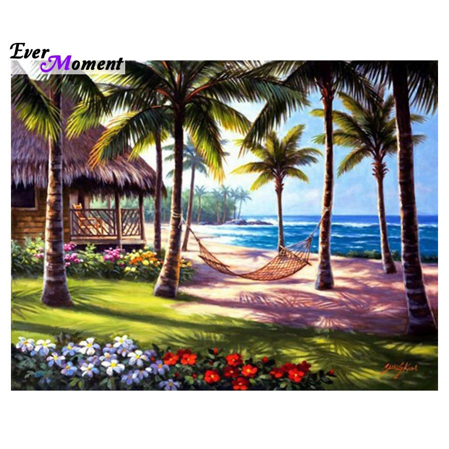 5D Full Diy Diamond Painting Mosaic Handmade Summer Beach Landscape Cross Stitch Square Diamond Sets Diamond Embroidery ASF466