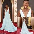Oscars Profundo Escote en v Una Línea de Hermosos Vestidos de Noche Lupita Nyong 'o 86a Premios de la Academia Red Carpet Vestidos de La Celebridad