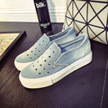 2017 New Brand Women Denim Shoes Round Toe Slip-On Hollow Washed Casual Canvas Triangle Thick Sole Breathable Jeans Shoes XJ323