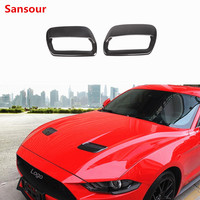 Sansour Car Stickers for Ford Mustang 2018 Carbon fiber Hood Engine Cover Air Outlet Decoration for Ford Mustang Car Accessories
