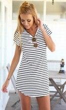 New Plus Size Women Beach Summer font b Dress b font Crew Neck Short Sleeve Striped
