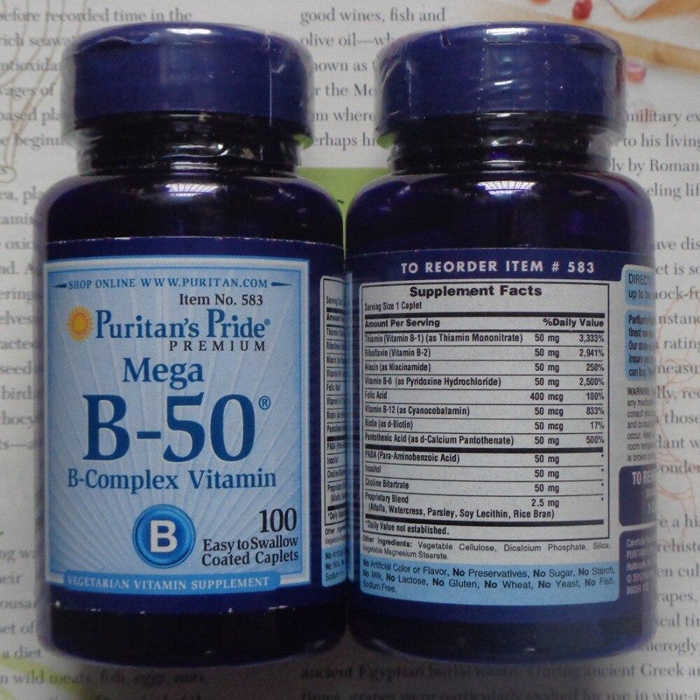 цена на Mega B-50 B-complex Vitamin 100 pcs Free shipping