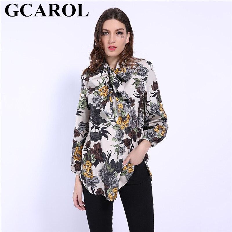 GCAROL 2019 Early Spring Bowknot Women Big Floral Long Blouse Elastic Cuff Fashion Elegant OL Work Shirt Asymmetric Tops 1