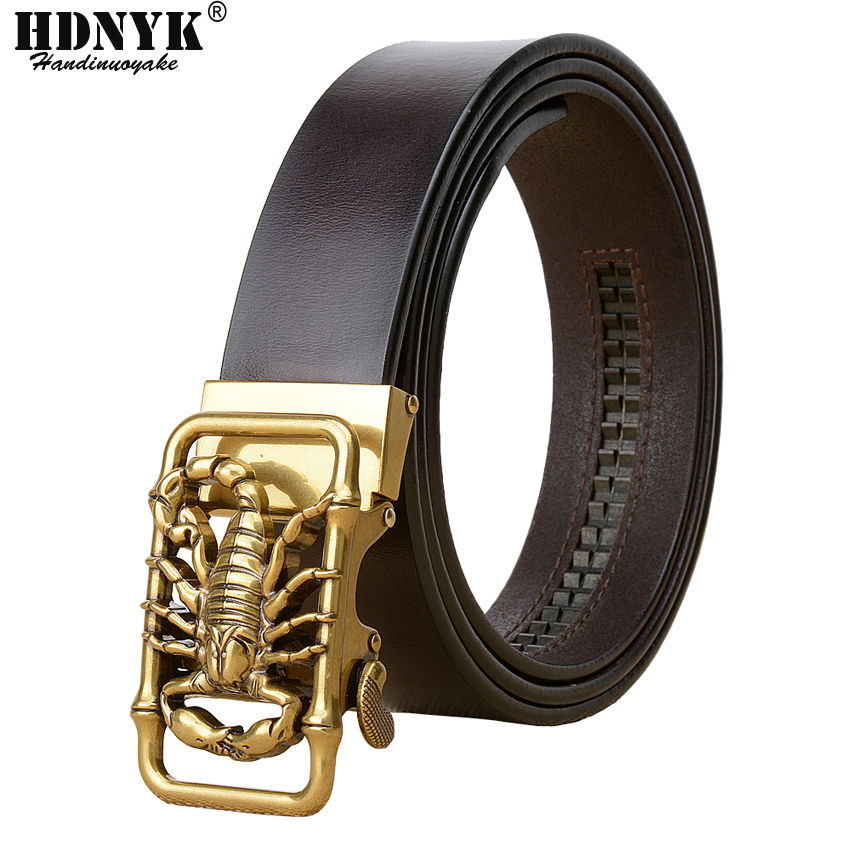 Factory Direct Brand Designer   Belt   Men High Quality Real Leather   Belts   Strap Male Retro Scorpion Automatic Buckle   Belt   for Men