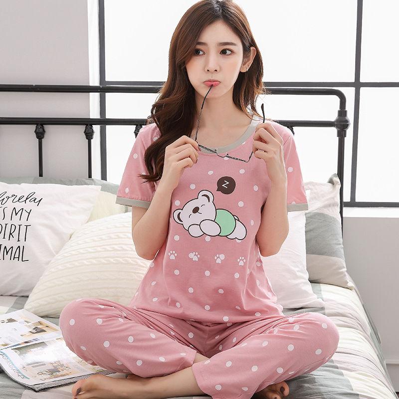 100% Cotton Women's   Pajamas     Set   Long Sleeve O-Neck shirts + long pants Two Piece Women 2018 Autumn Trousers Bathrobe nightie