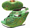 JA114(3) italian shoes with matching bags in Fashion african shoe and bag set matching green color for african party