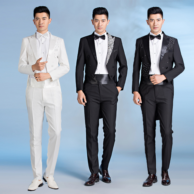 Clothing terno slim fit mens formal dress black white tuxedo suits ...