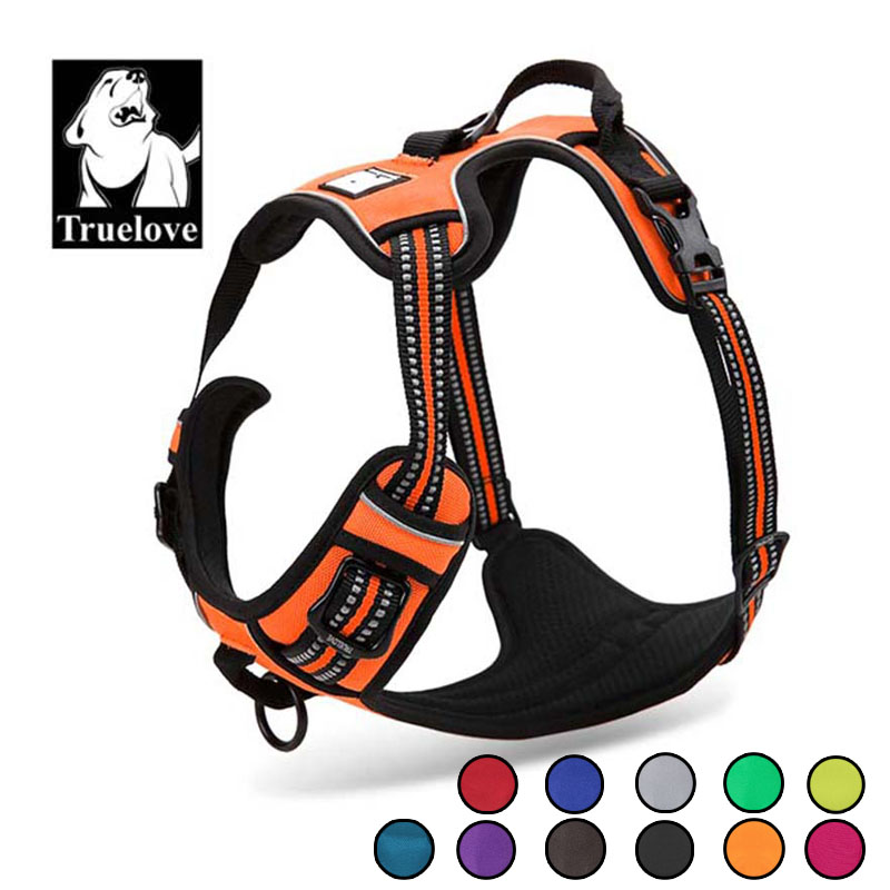 Truelove Reflective Nylon Large pet Dog Harness Weather Service Dog Ves Padded Adjustable Safety Vehicular Lead For Dogs Pet