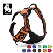 Truelove Reflective Nylon Large pet Dog Harness All Weather Service Ves Padded Adjustable Safety Vehicular Lead For Dogs Pet