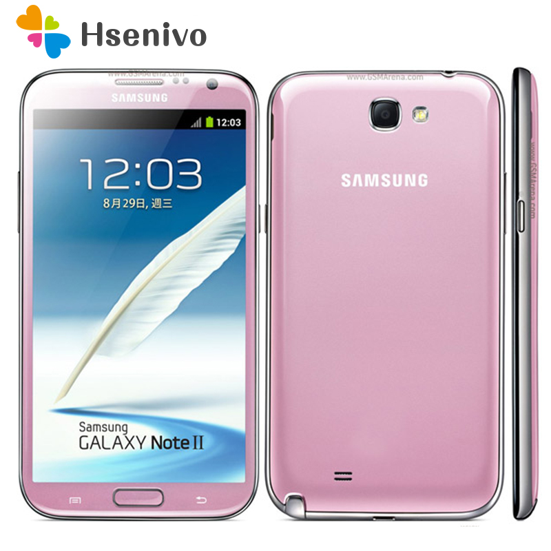 "100% Original Unlocked Samsung Galaxy Note 2 II N7100 Mobile Phone 5.5"" Quad Core 8MP GPS WCDMA Refurbished Smartphone"