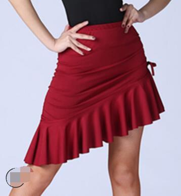 Показать информацию о 1 шт./лот латинские танцы юбка Женский костюм Леди Танцевальная юбка Samba Танго нерегулярные сплошной юбка для танцев печати латинская юбка