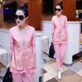 2016 autumn and winter women's long sleeve leisure suit the new female fashion lace large size loose 2 piece set