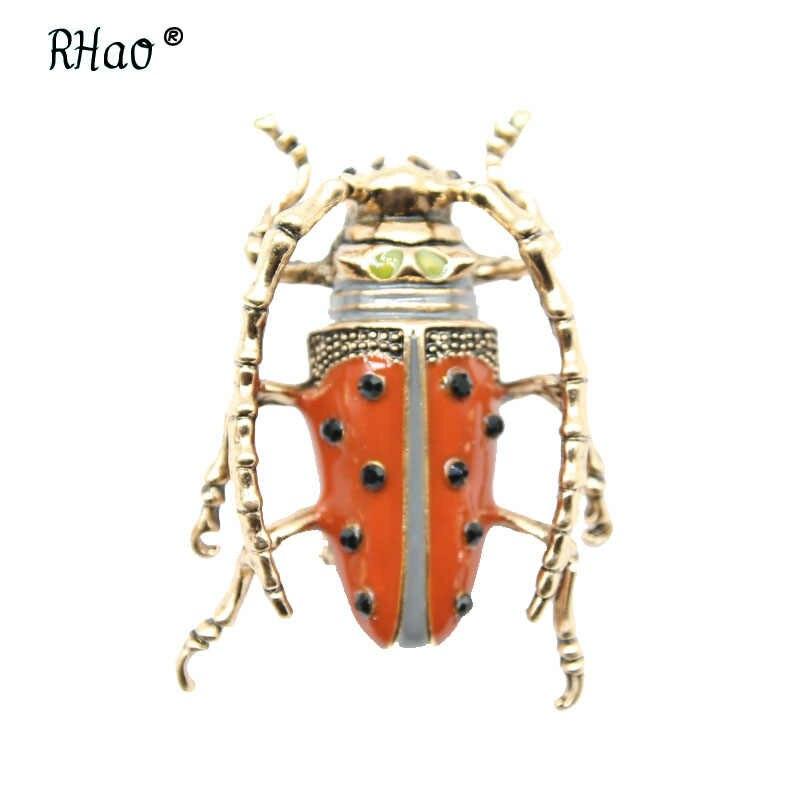 Beatle RHao Hijau Enamel Serangga Bros Merah Terbang Serangga Berlian Imitasi bros pins Dekorasi Aksesoris Wanita Pria korsase pin