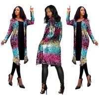 2018 New Designed Night Out Party Club Women Clothing Sparkly Jacket Women Long Coats Body 9113