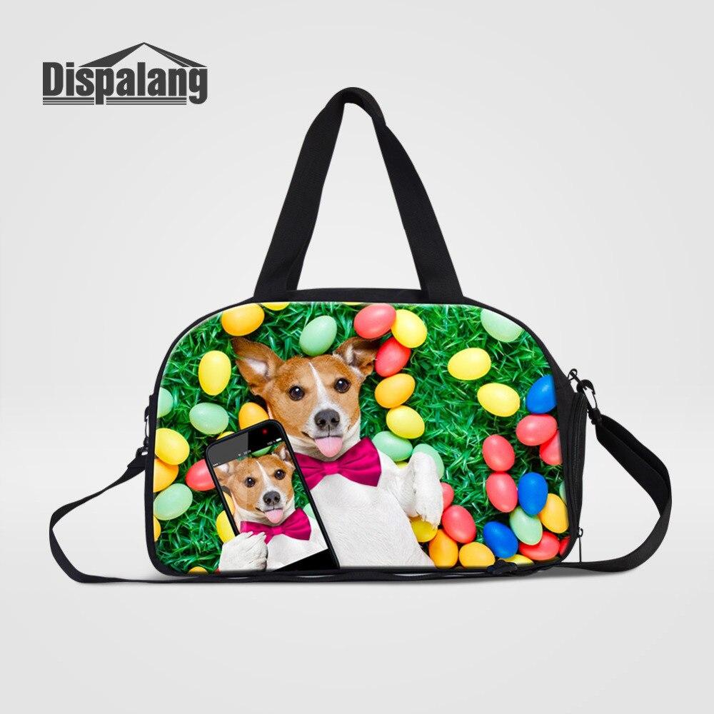 Dispalang Pet chien imprimer femmes sacs de voyage avec des chaussures indépendantes stockage grande capacité bagages sac de sport sac à bandoulière Portable