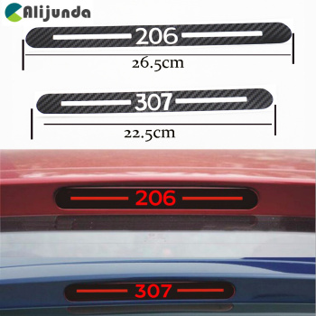 New Car Styling Car Cover Car Protector Carbon Fiber Vinyl Sticker Brake Lamp Hatch for Peugeot 307 206 Back Decoration image