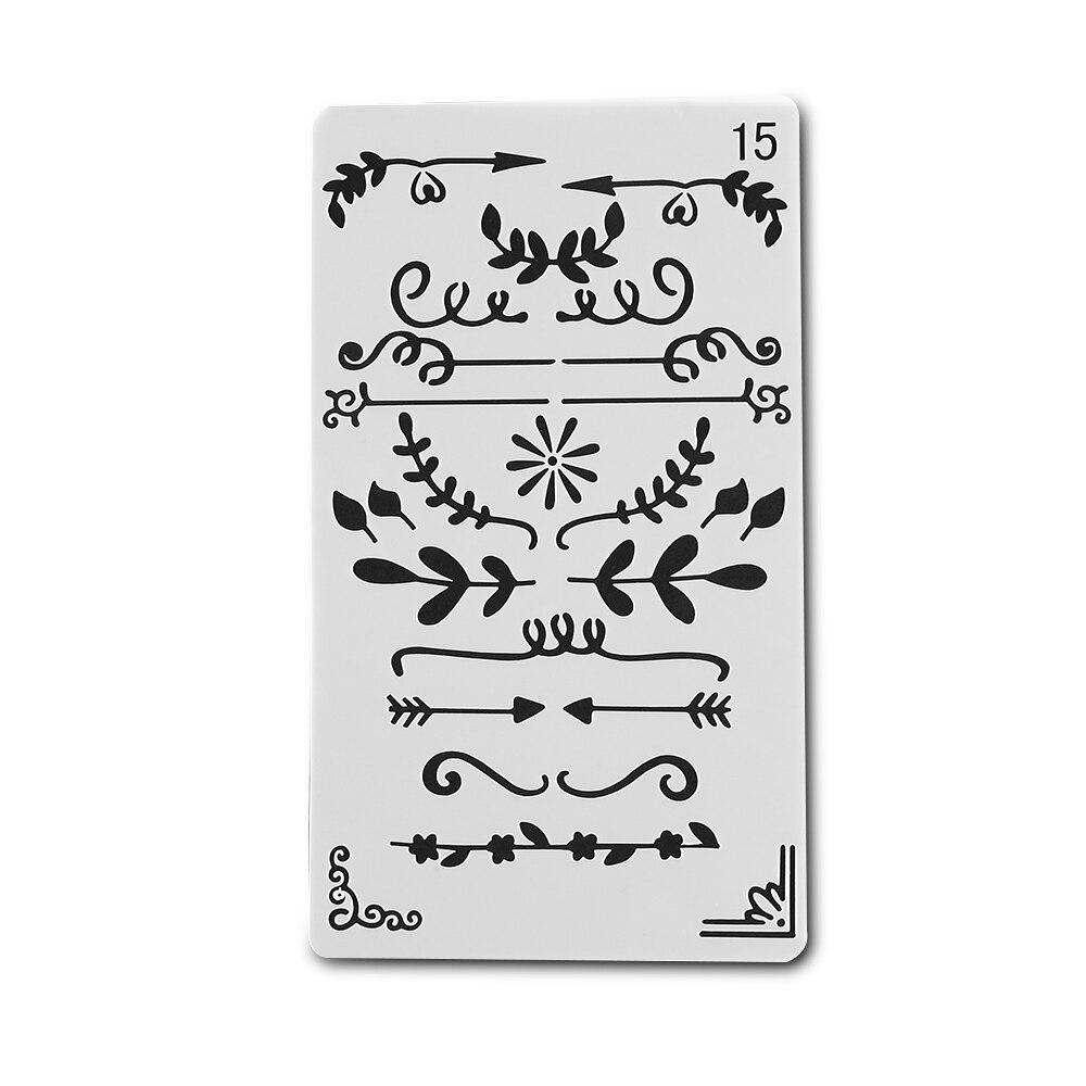8pcs//set Journal Painting Template Plastic Stencils Scrapbooking Hollow Ruler