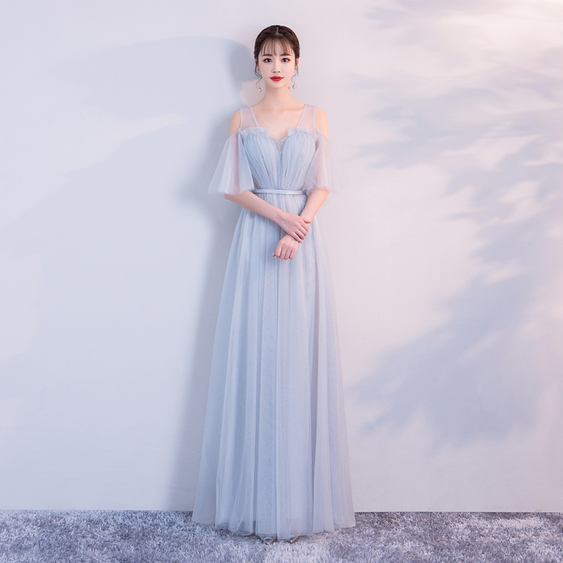 V-neck A-line Short Floor-length Long New Design Sister Blue Grey Wedding Banquet Performance Tulle Backless Evening Dress 3379