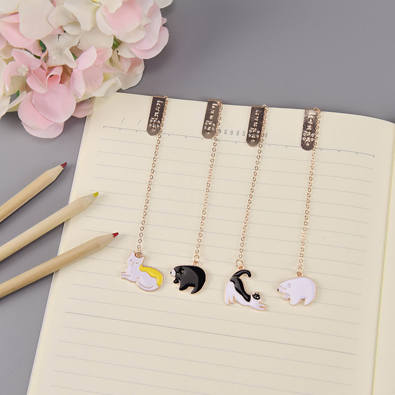 4 Pcs/Set Cute Bear And Cat Metal Pendant Bookmark Book Holder Message Card Gift Stationery