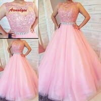 Pink Lace Quinceanera Dresses Ball Gown Tulle Long Prom Debutante Sweet 16 Dress vestidos de 15 anos