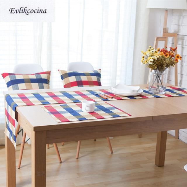 Superieur Free Shipping Red And Blue Lattice Table Runner Decoracion Mesa Hogar  Chemin De Table Tafelloper For