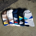 5 par/lote Nuevo estilo colorido del CALCETÍN DE ROMBOS hombres peinado calcetines de algodón marca hombre vestido de calcetines de punto