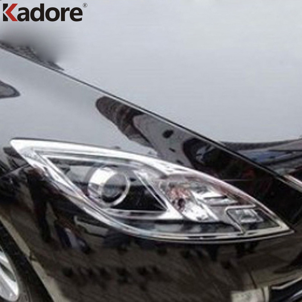For Mazda 6 2009 2010 2011 2012 Sedan 4Dr ABS Chrome Front Lamp Cover Headlight Trim Shells Auto Hoods Assemby Accessories 2pcs цены онлайн