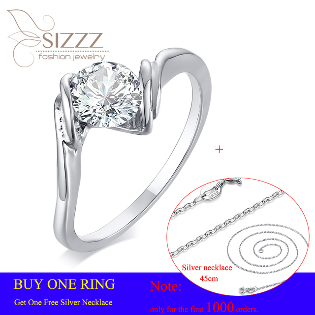 SIZZZ 2019 New Fashion Gift for Girl Friend Silver Plated CZ Wedding Ring for Woman Dropshipping