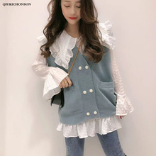 Korean Spring Autumn Long Sleeve White Shirts Women Flare Sleeve Kawaii Big Peter pan Collar Ruffle Blouse Knitted Vest Sets long sleeve girl chiffon blouse spring autumn kids peter pan collar back to school blouse and shirts for teeange girls 12 years